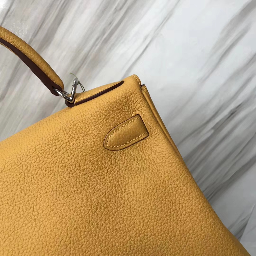 Stock Hermes 9D Ambre Yellow Togo Calf Kelly28CM Bag Silver/Gold Hardware