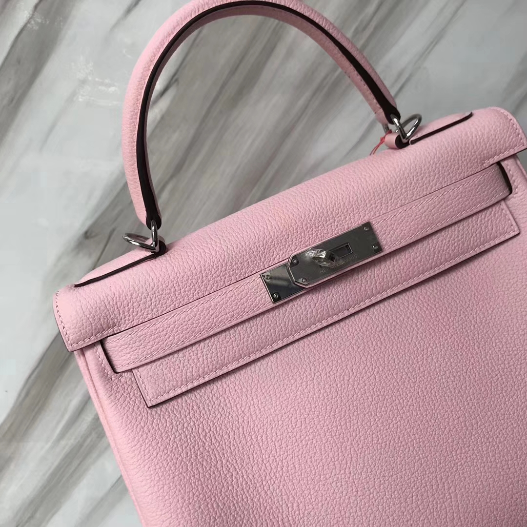 Stock Hermes Togo Calf Kelly Bag28CM in 3Q New Pink Silver/Gold Hardware