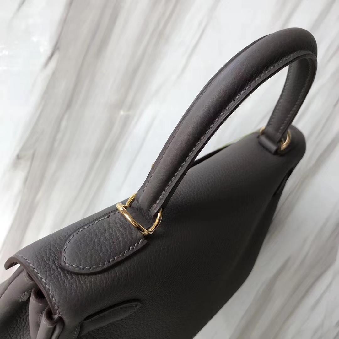 Stock Hermes Togo Calf 8F Gris Etain Kelly28CM Women's Bag Gold Hardware
