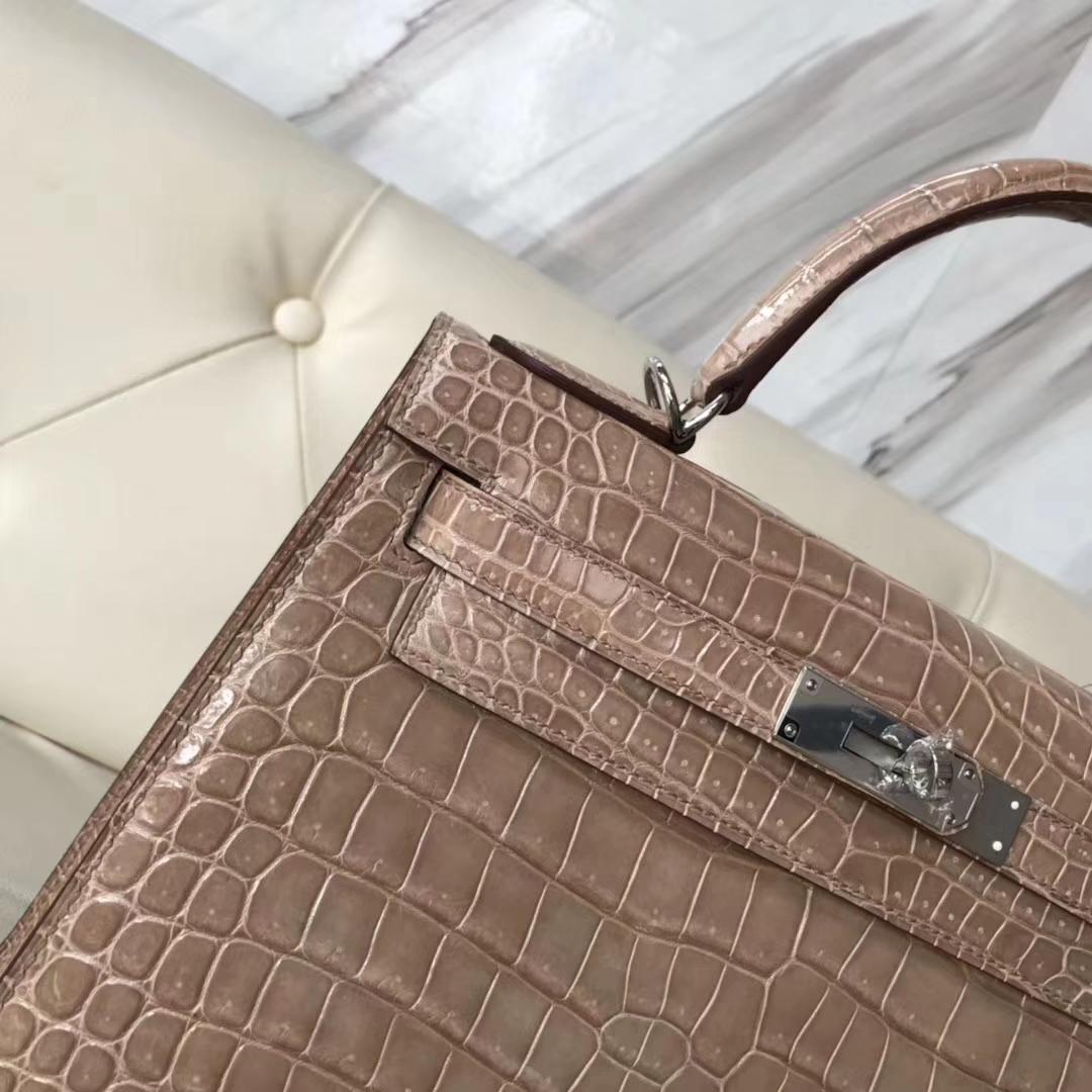 Stock Hermes Shiny Porosus Crocodile Sellier Kelly Bag28CM in Apricot Silver Hardware