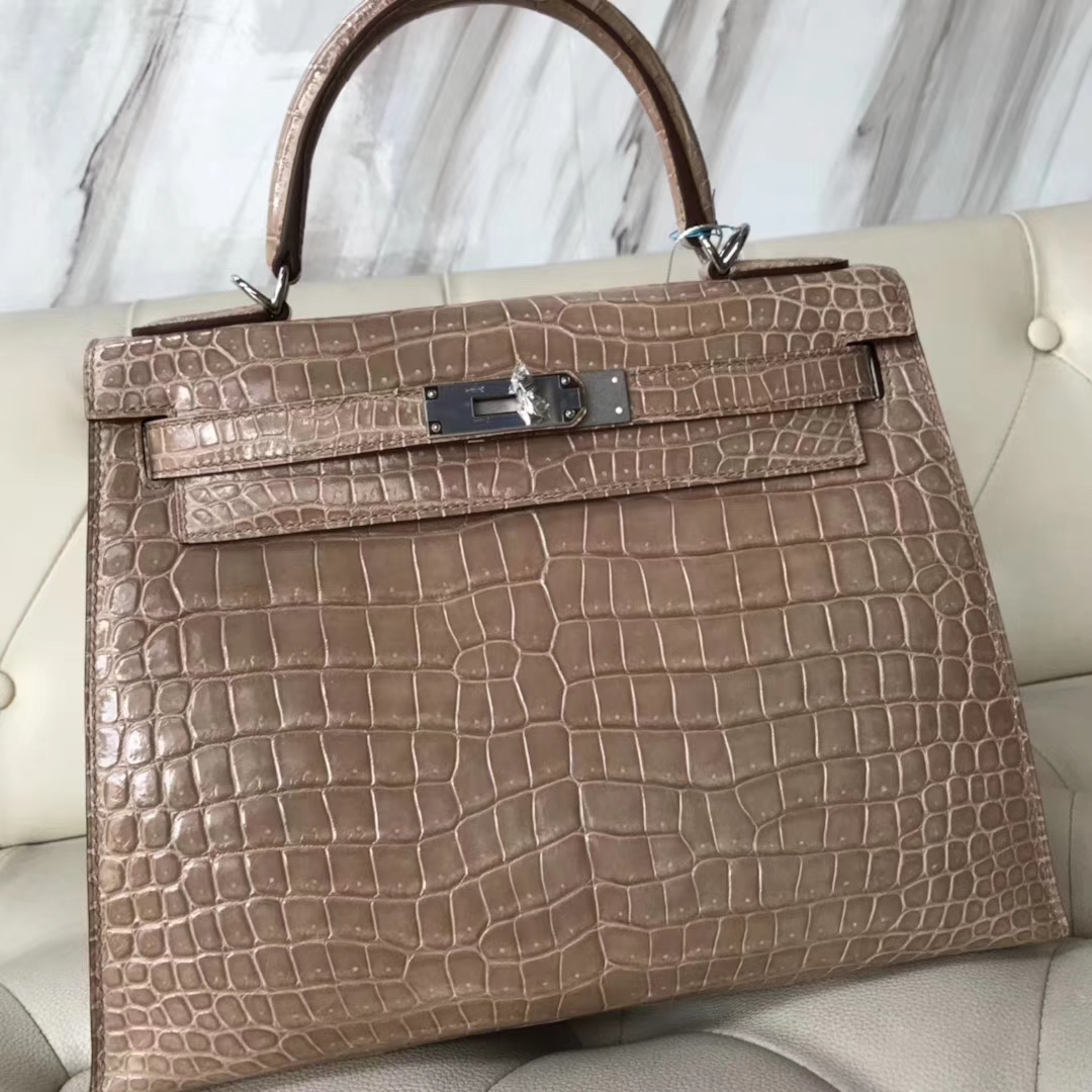 Stock Hermes Shiny Porosus Crocodile Sellier Kelly Bag28CM in Apricot Silver Hardware