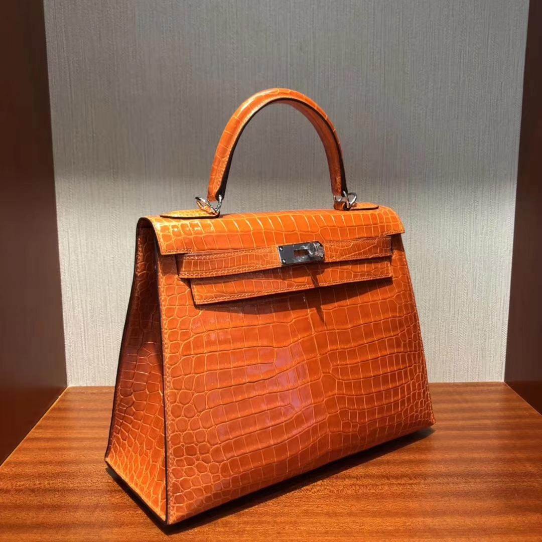Stock New Hermes Shiny Crocodile Sellier Kelly Bag28CM in Orange Silver Hardware