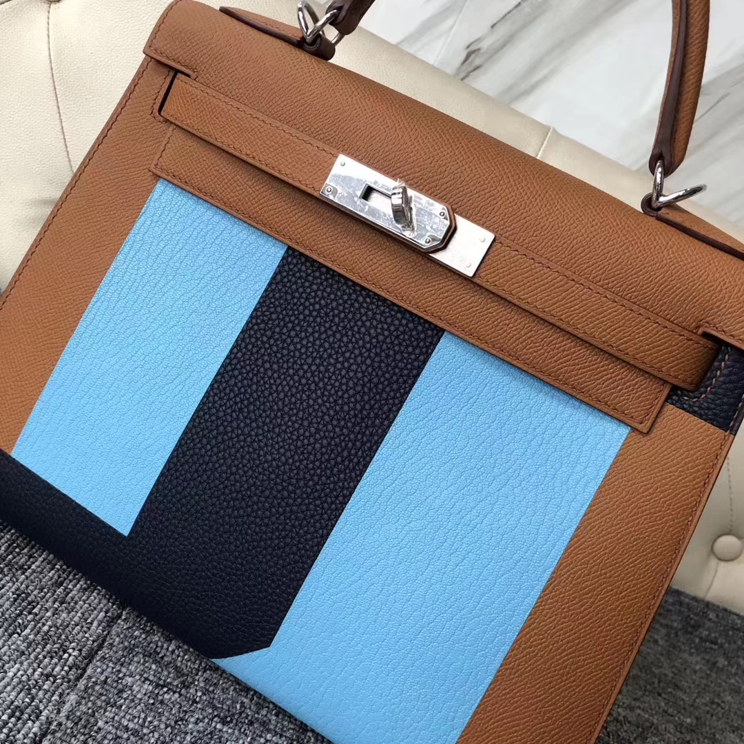 Discount Hermes Tri-Color Epsom Calf Sellier Kelly28CM Bag Silver Hardware