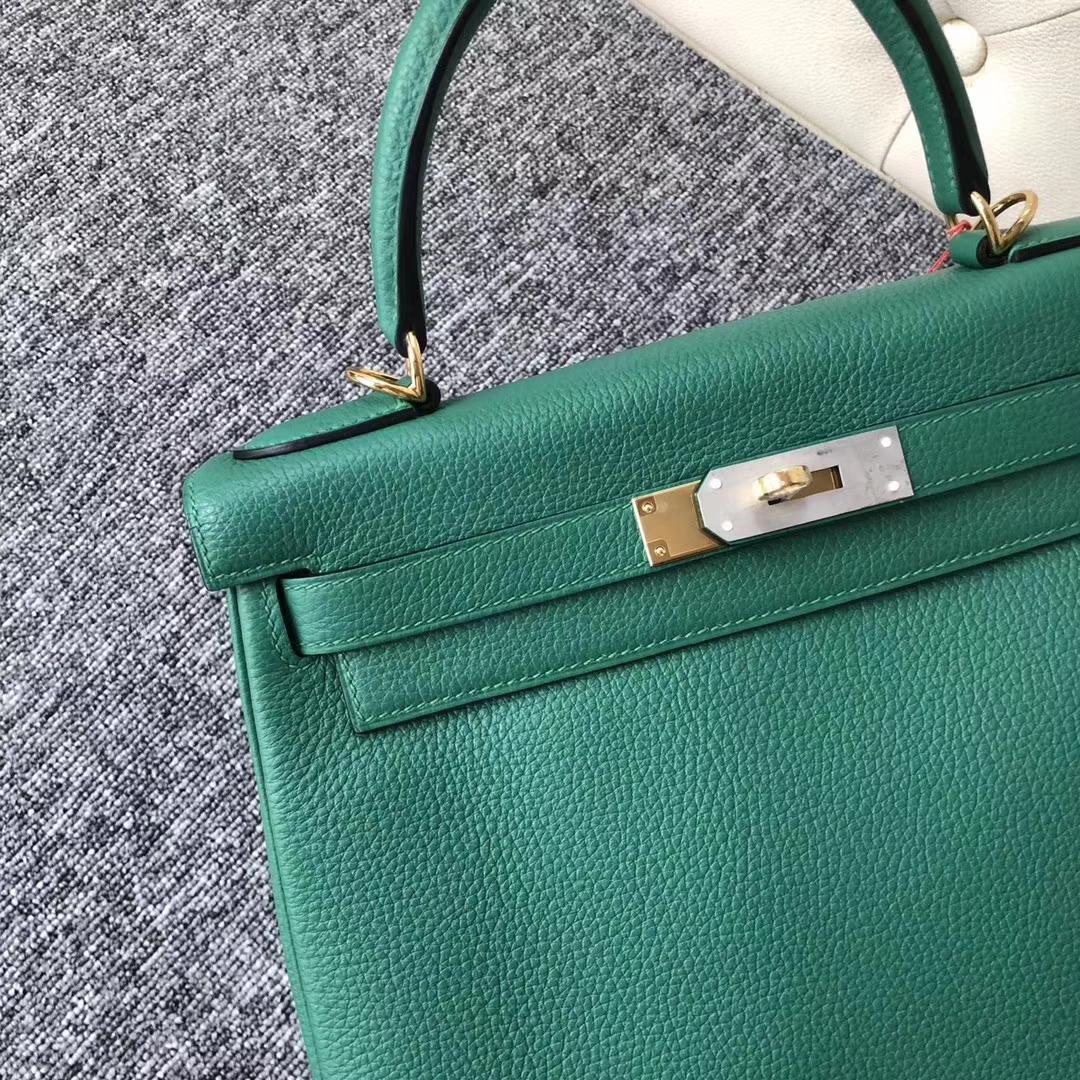 Elegant Hermes Togo Calf Kelly28CM Bag in U4 Vert Verigo Gold Hardware