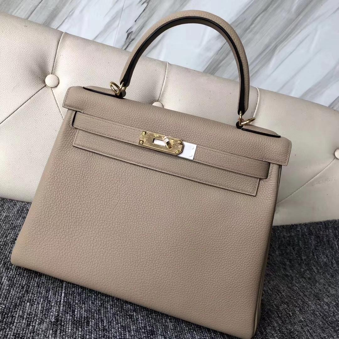 Elegant Hermes CK81 Gris Tourterelle Togo Calf Kelly Bag28CM Gold Hardware