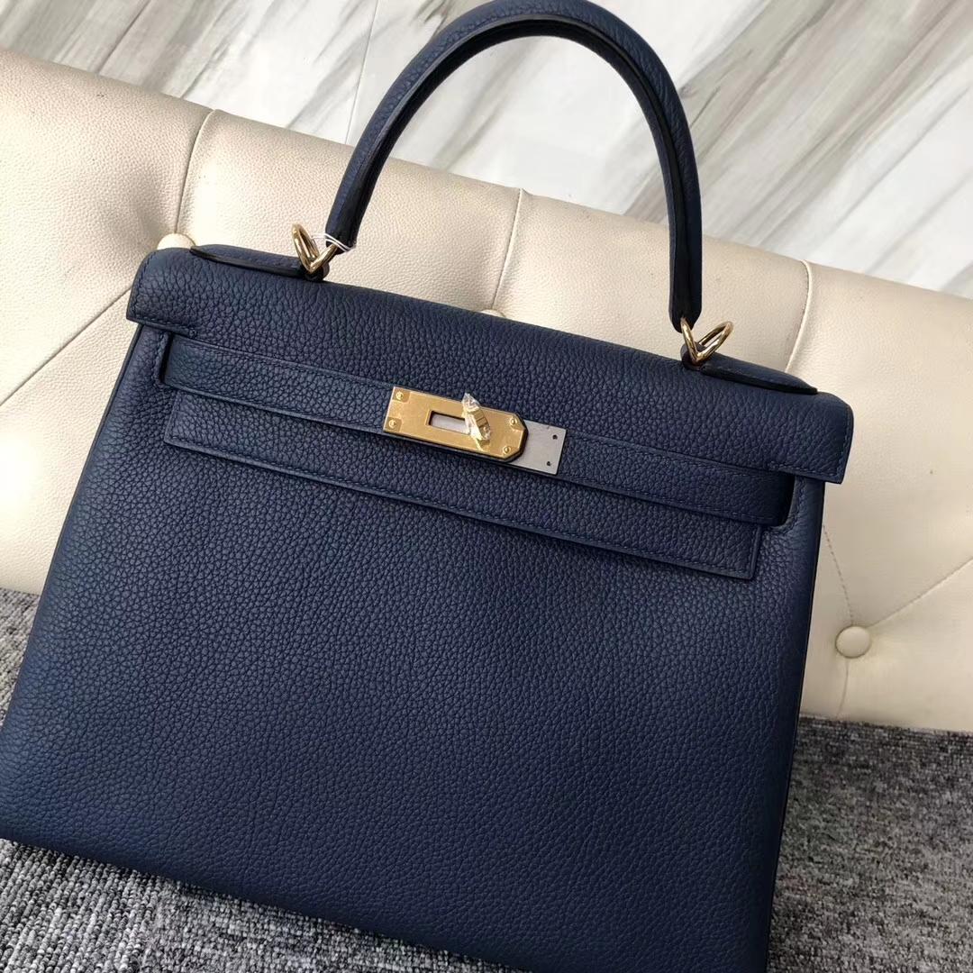 Discount Hermes Togo Calf Retourne Kelly28CM Bag in 1P Blue Colvert Gold Hardware
