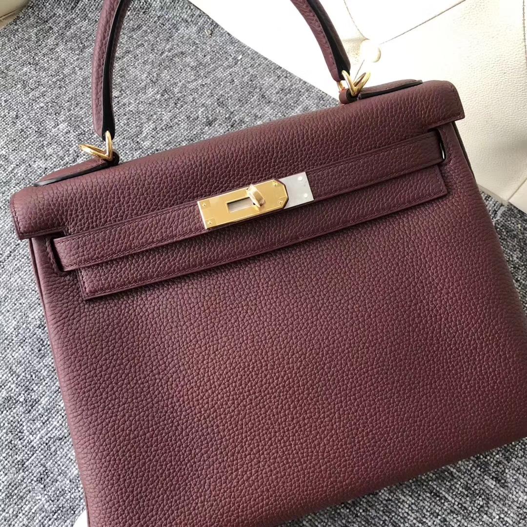 Wholesale Hermes CK55 Rouge H Togo Calf Retourne Kelly Bag28CM Gold Hardware