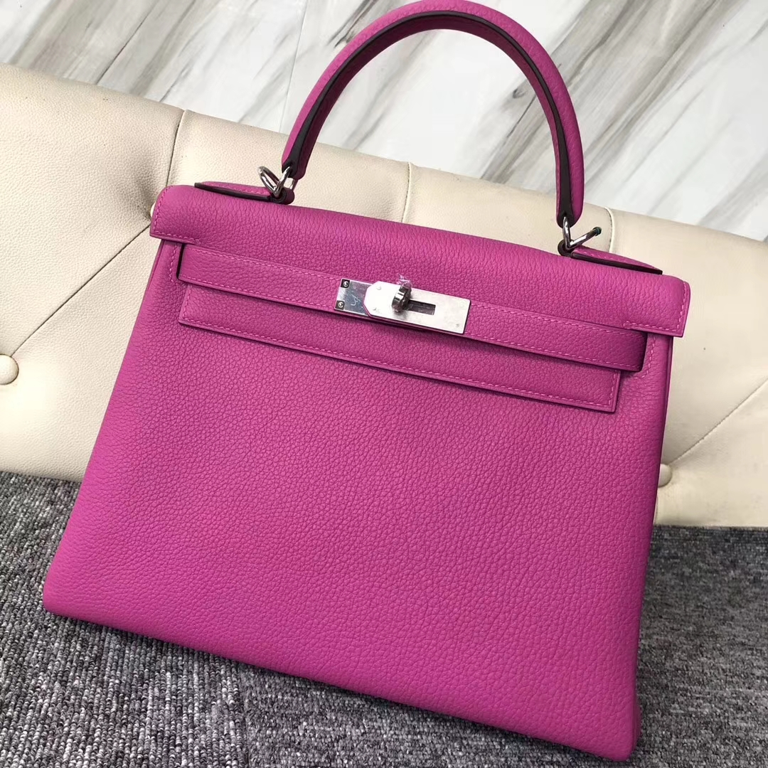 Pretty Hermes 9I Rose Magnolia Togo Calf Retourne Kelly Bag28CM Silver Hardware