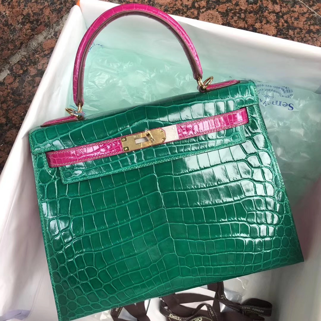 Luxury Hermes 6Q Vert Emerald/J5 Rose Scheherazade Crocodile Kelly Bag28CM Gold Hardware