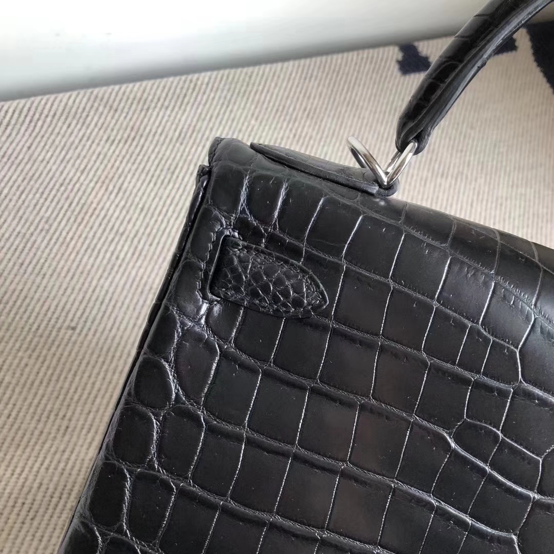 Discount Hermes CK89 Noir Matt Crocodile Kelly Bag28CM Silver Hardware