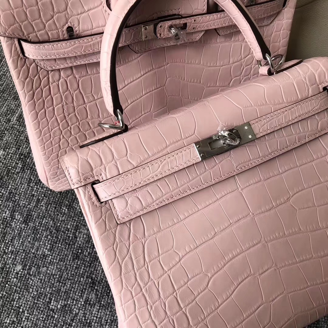 Wholesale Hermes Barbie Pink Matt Crocodile Kelly25CM Bag Silver Hardware