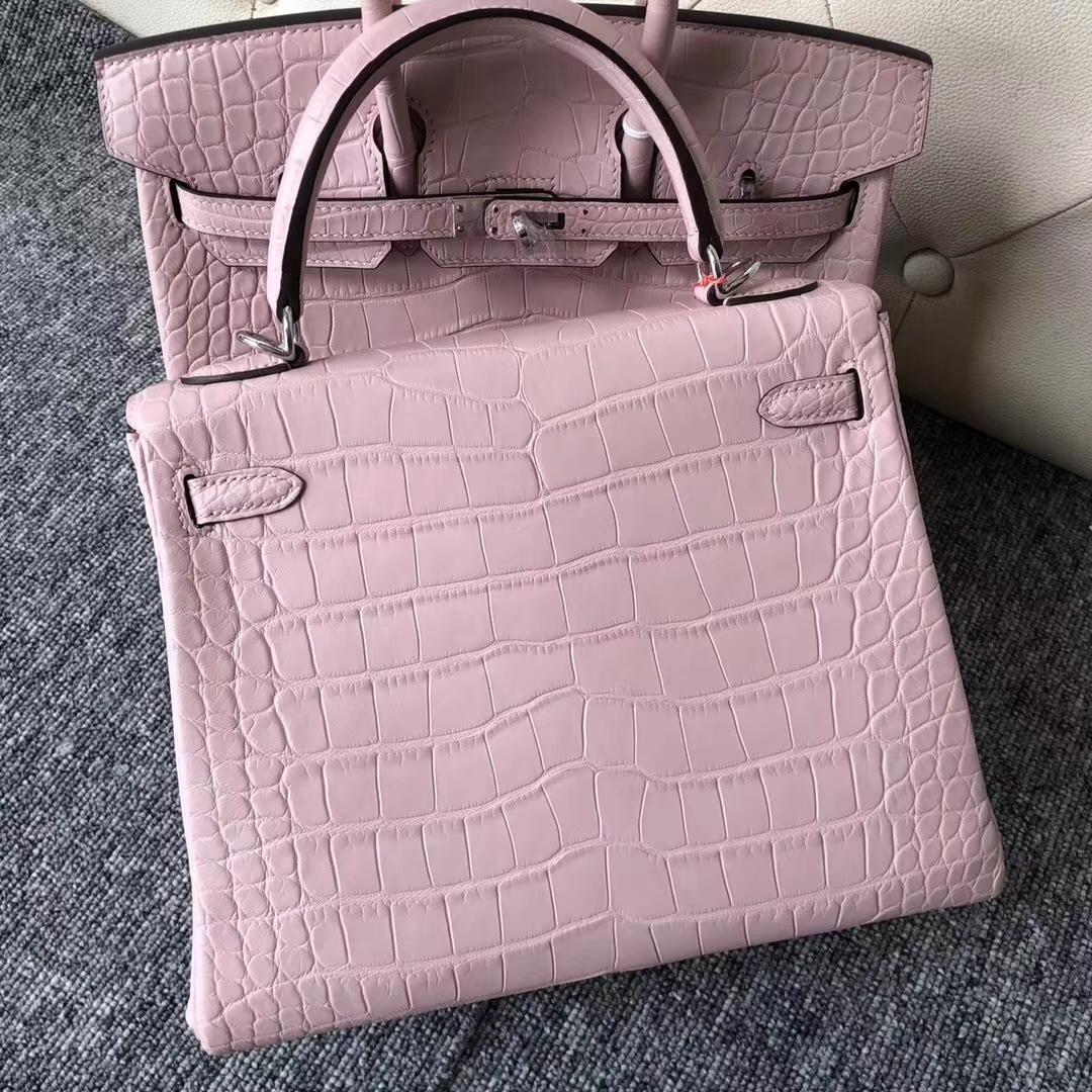 Wholesale Hermes Barbie Pink Matt Crocodile Kelly25CM Bag Silver Hardware