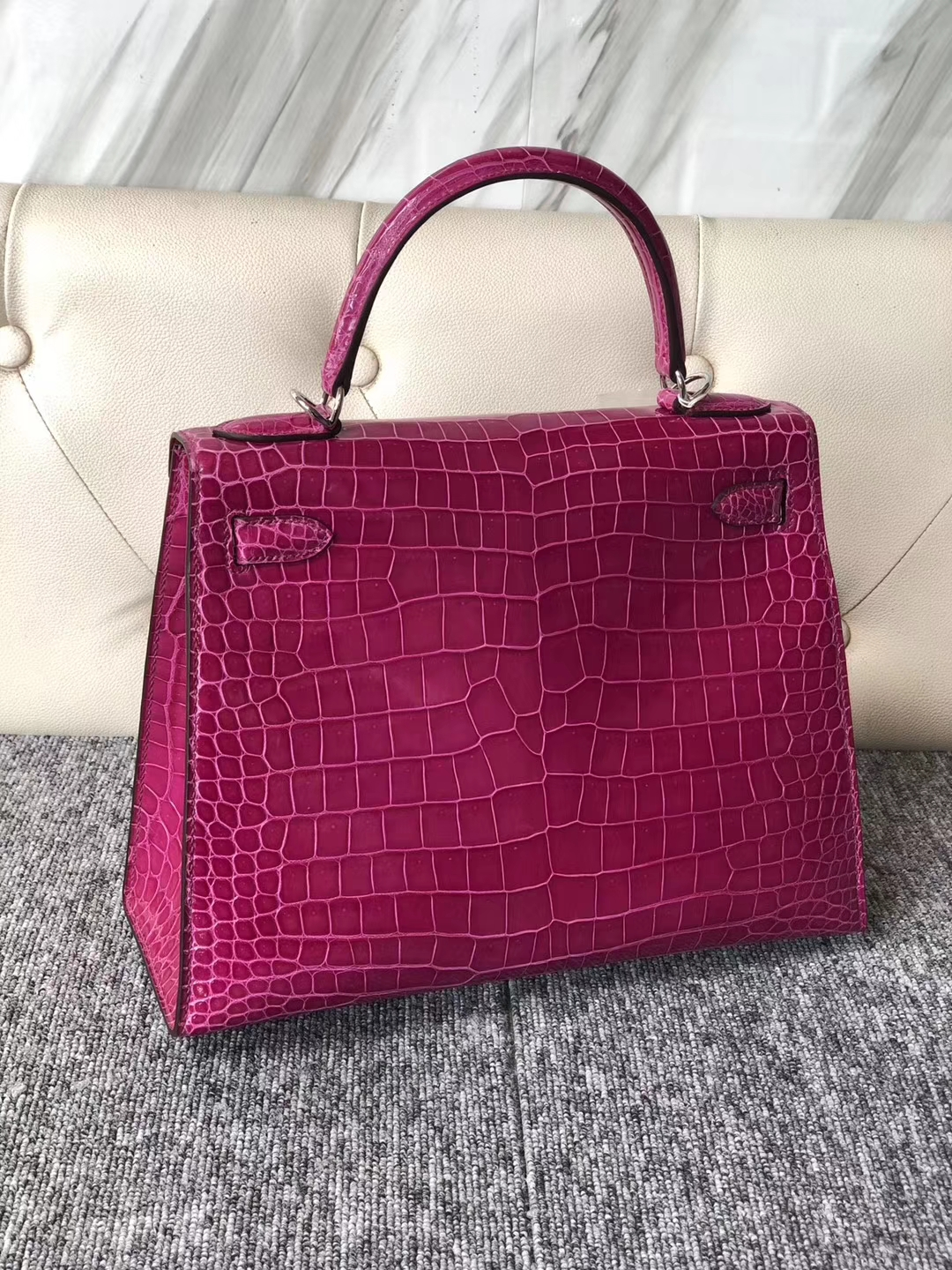 Fashion Hermes J5 Rose Scheherazade Shiny Crocodile Kelly Bag28CM Silver Hardware