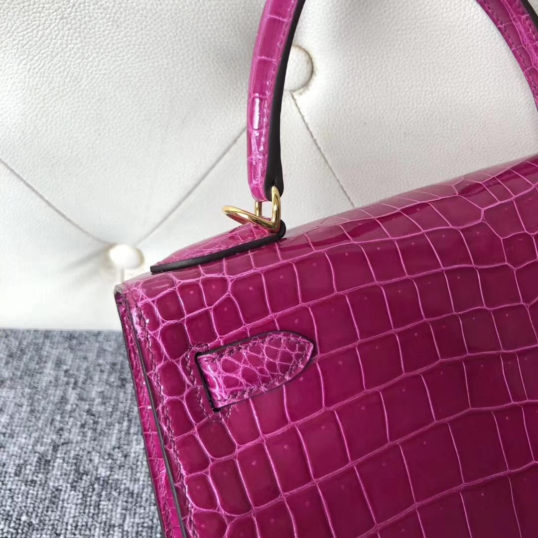 Stock Hermes Shiny Crocodile Kelly28CM Bag in J5Rose Scheherazade Gold Hardware