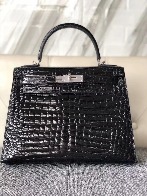 Customize Hermes CK89 Noir Shiny Crocodile Kelly Bag28CM Silver Hardware