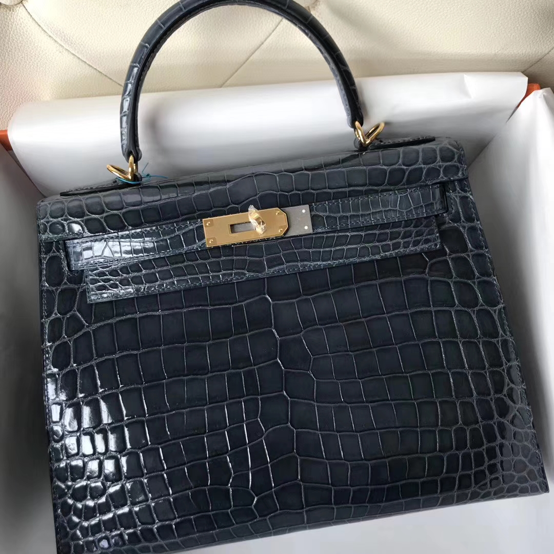 Stock Hermes 1P Blue Colvert Shiny Nilo Crocodile Kelly Bag28CM Gold Hardware