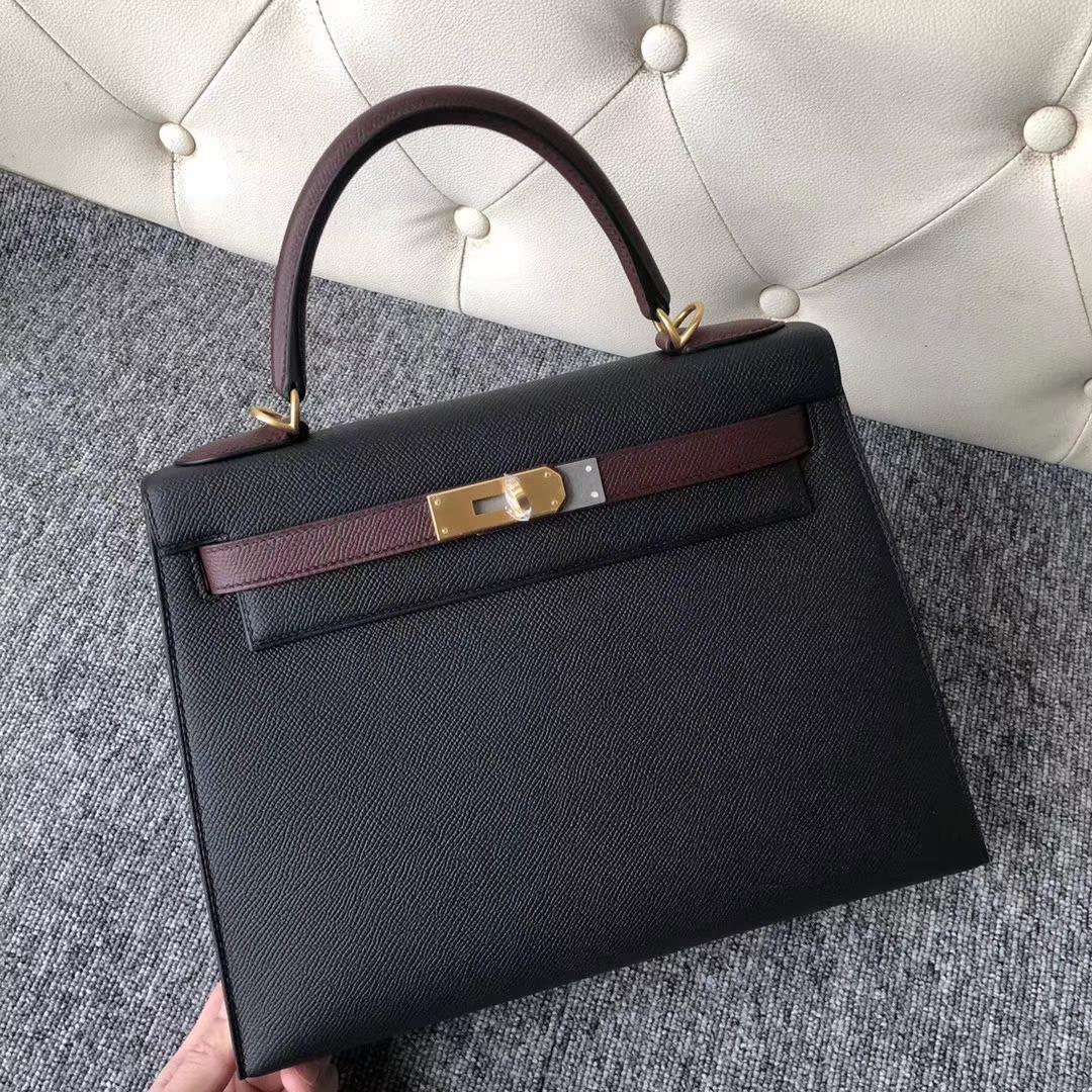 Customize Hermes CK89 Black/CK55 Rouge H Epsom Calf Kelly Bag28CM Gold Hardware