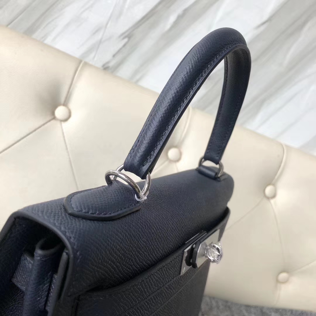 Discount Hermes Epsom Calf Kelly Bag28CM in CK76 Dark Blue Silver Hardware