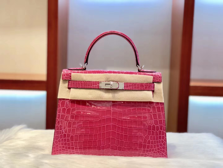 Luxury Hermes Hot Pink Shiny Nilo Crocodile Kelly Bag28CM Silver Hardware