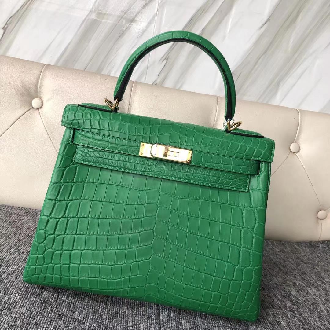 Customize Hermes Nilo Crocodile 1K Bamboo Green Kelly28CM Bag Gold Hardware