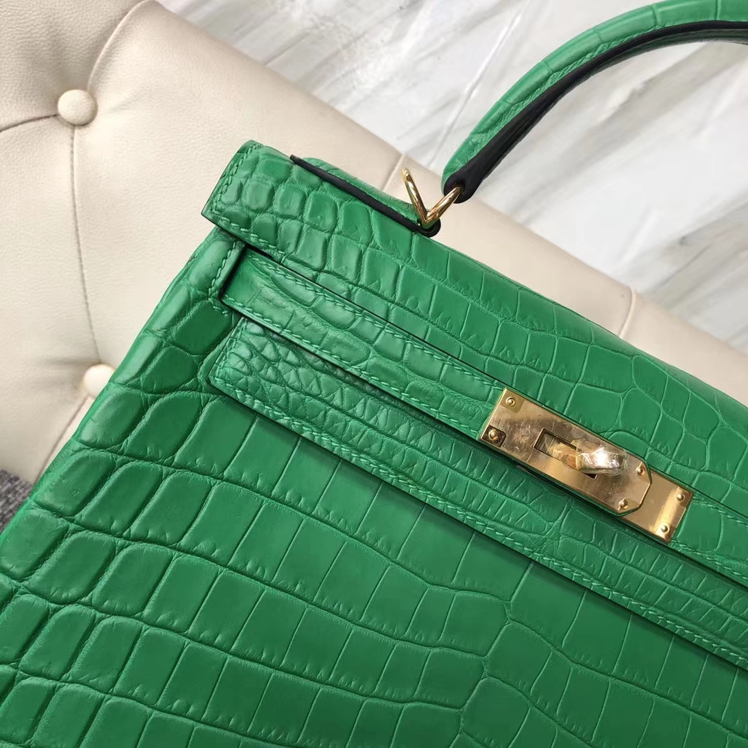 Customize Hermes Nilo Crocodile 1K Bamboo Green Kelly28CM Bag Gold Hardware