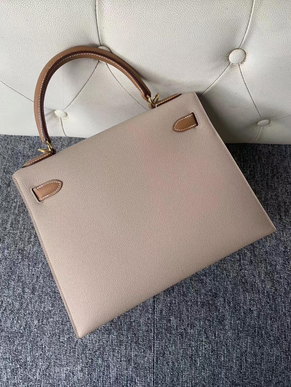Fashion Hermes S2 Gris Trench/CK37 Gold Epsom Kelly Bag28CM Gold Hardware