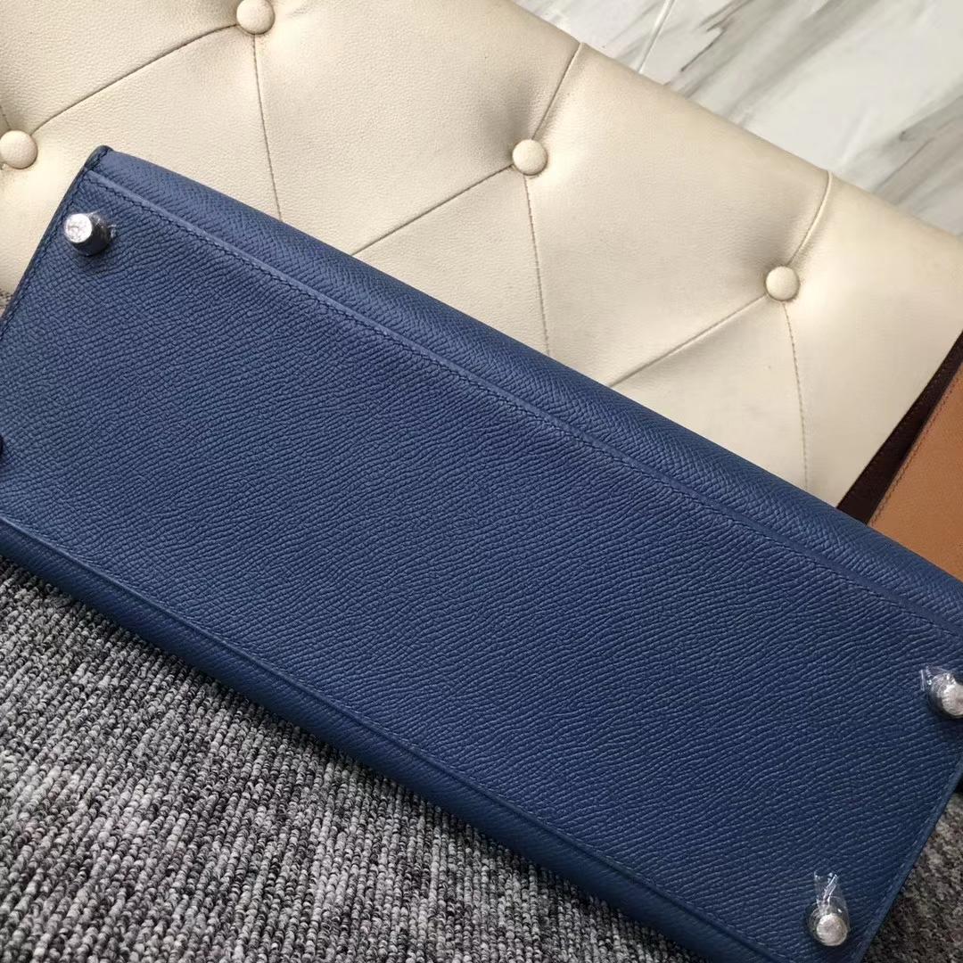Wholesale Hermes 2R Blue Agate/73 Blue Saphier Epsom Kelly Bag28CM Silver Hardware
