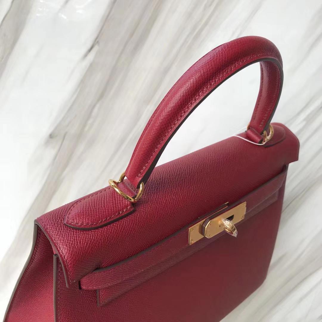 Stock Hermes Epsom Calf Kelly28cm Bag in K1Rouge Grenade Gold/Silver Hardware