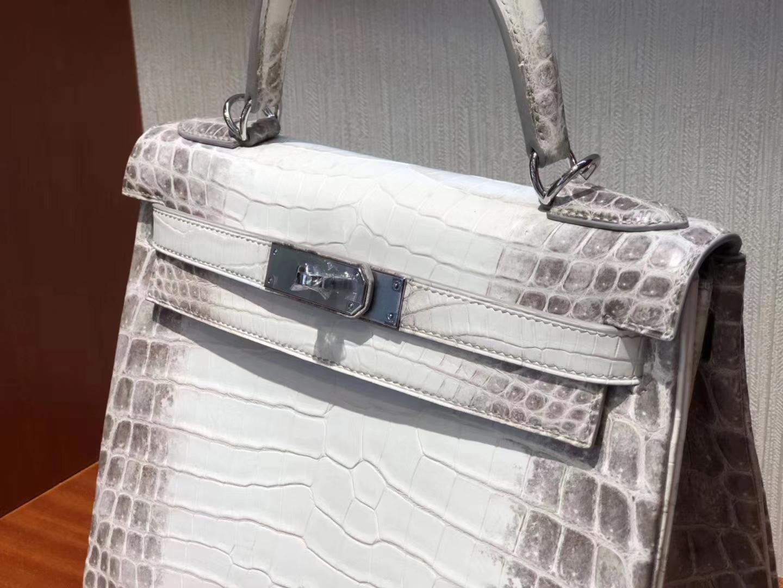 Stock Hermes Himalaya Matt Crocodile Kelly28cm Women's Bag Silver Hardware