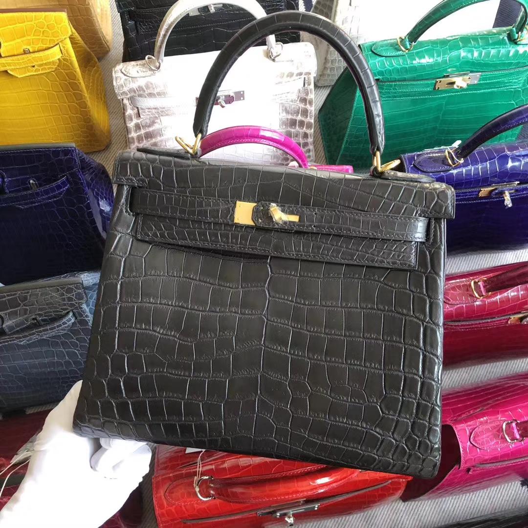 Stock Hermes CK89 Noir Matt Crocodile Kelly28CM Bag Gold Hardware