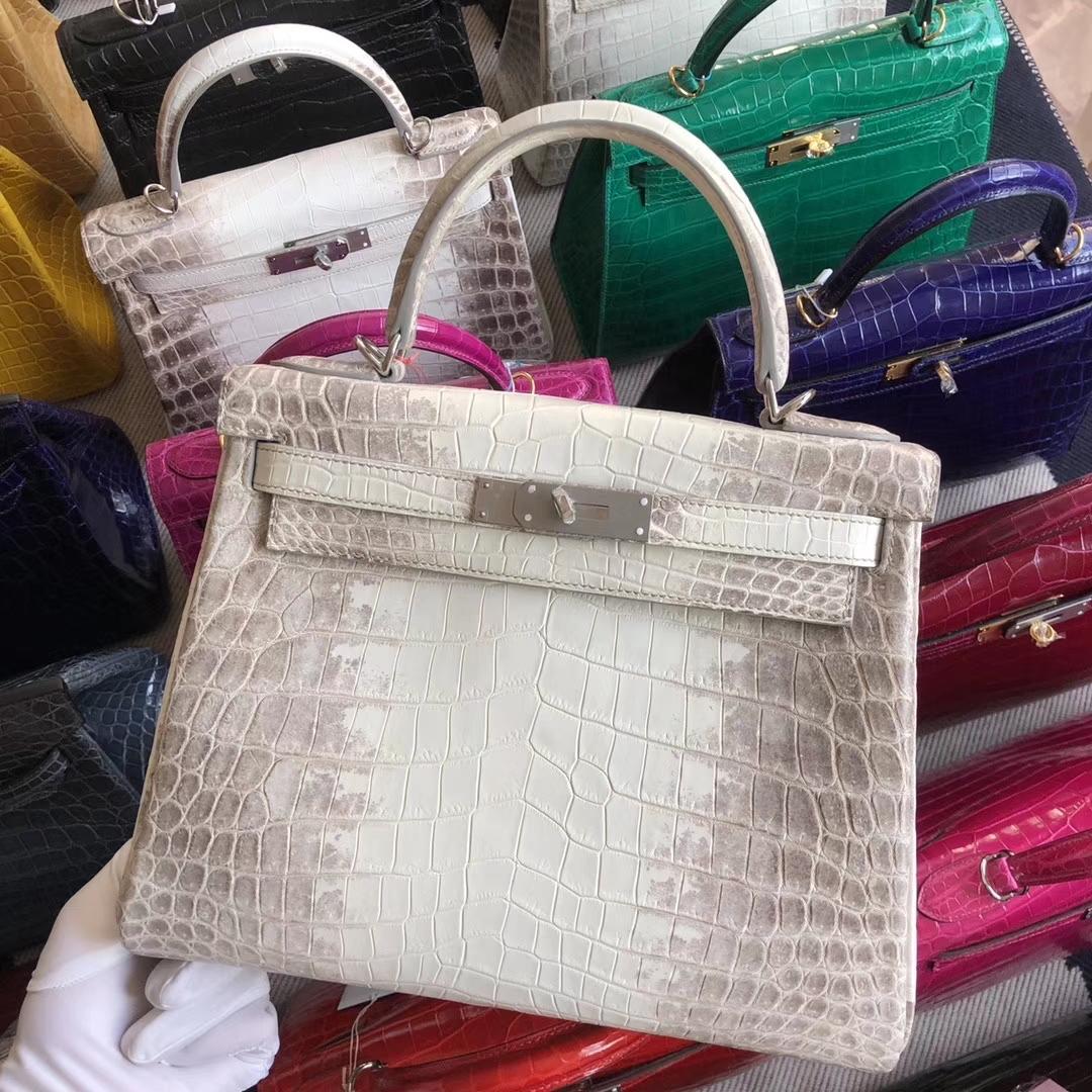 Stock Hermes Crocodile Kelly28CM Bag in Himalaya Color Silver Hardware