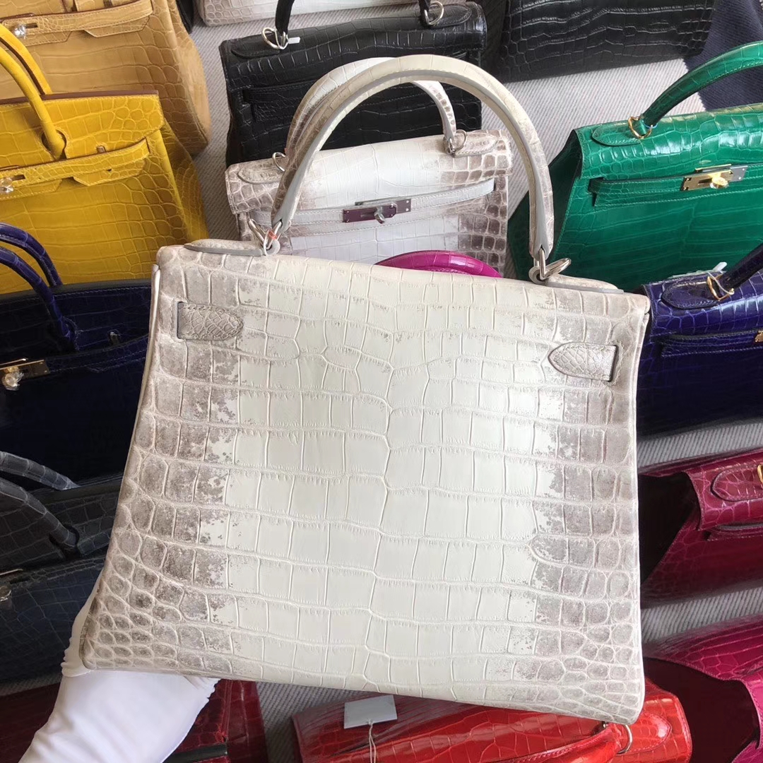 Stock Hermes Himalaya Crocodile Leather Retourne Kelly Bag28CM Silver Hardware