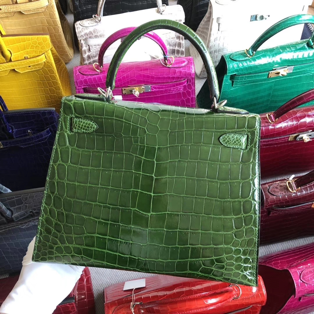 Stock Hermes Shiny Crocodile Kelly28CM Bag in Grass Green Silver Hardware