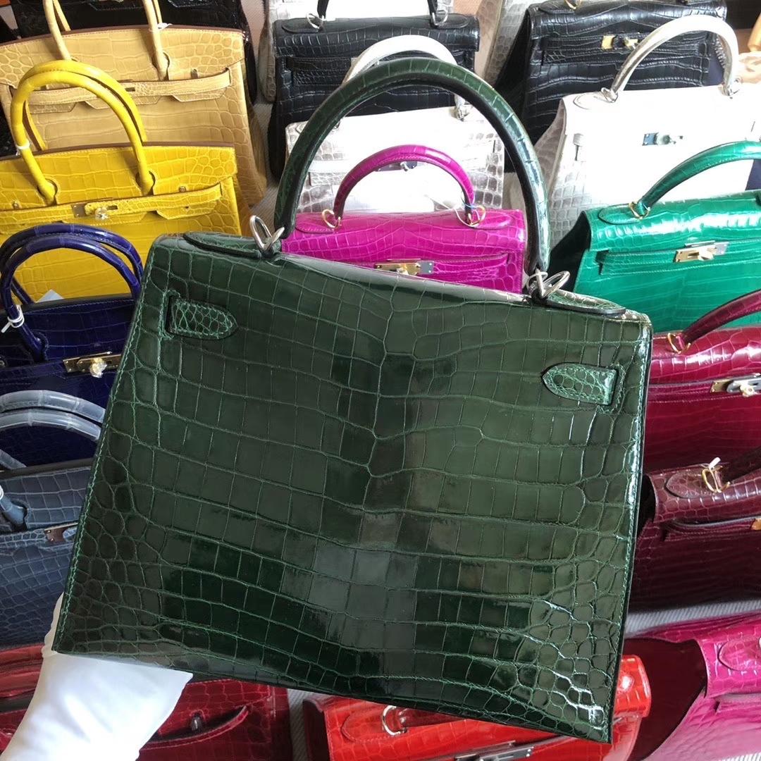 Stock Hermes CK67 Vert Fonce Shiny Crocodile Kelly Bag28CM Silver Hardware