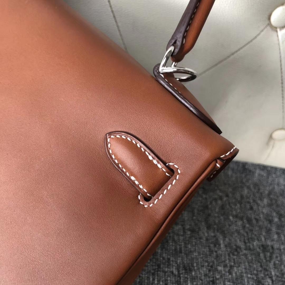 Customize Hermes Gold Bareniz Natural Kelly28CM Bag Silver Hardware