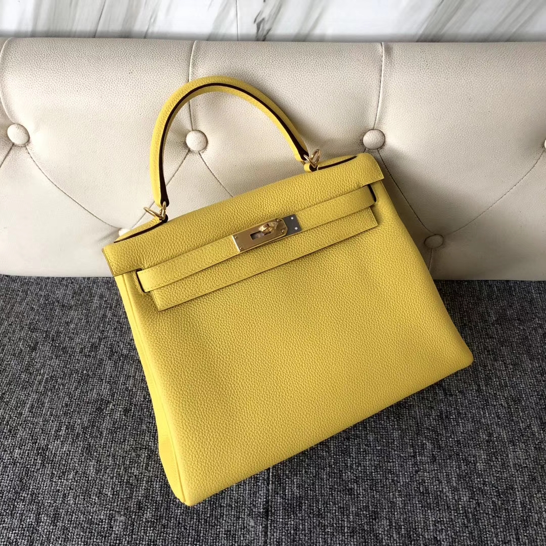 Stock Hermes 9O Jaune De Naples Togo Calf Kelly Bag28CM Gold/Silver Hardware