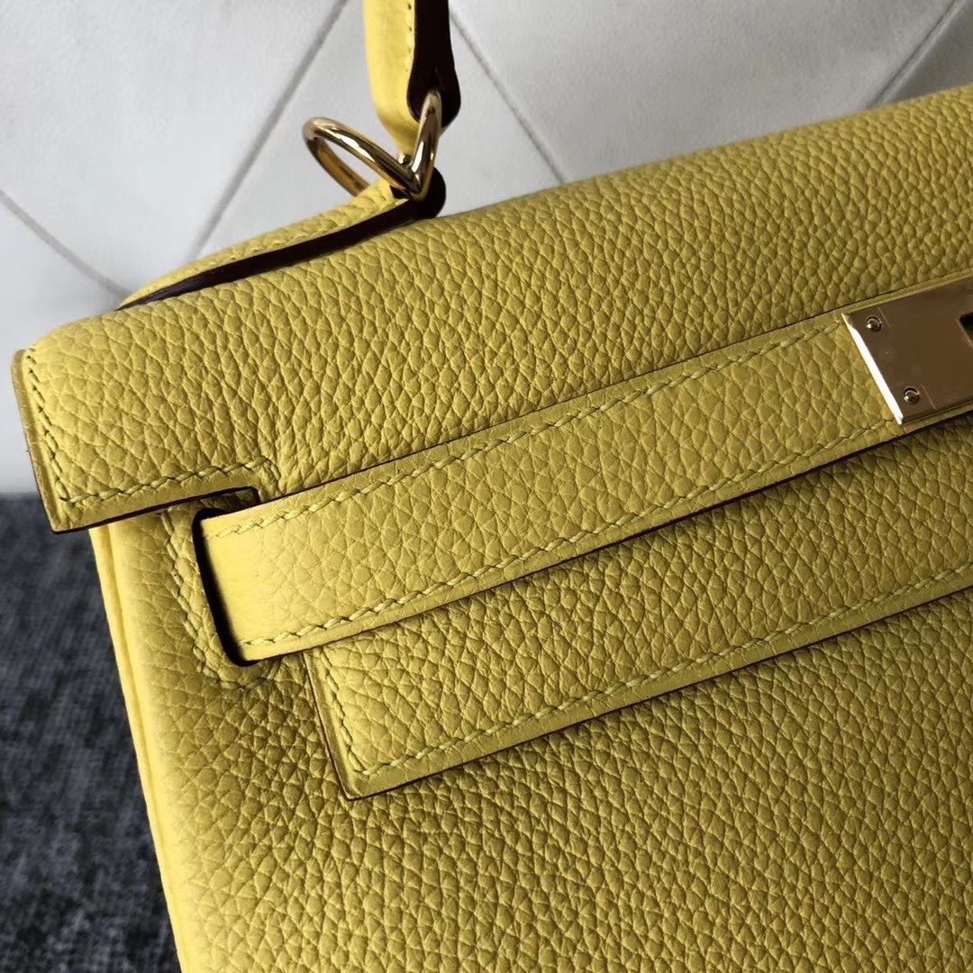 Stock Hermes 9OJaune De Naples Togo Calf Kelly Bag28CM Gold/Silver Hardware