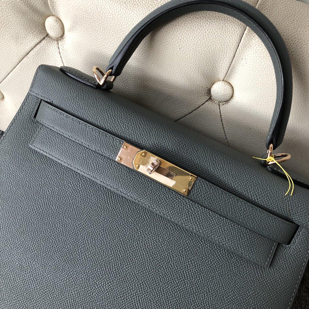 Stock Hermes Epsom Calf  Kelly28CM Bag CC63 Vert Apricot Gold Hardware