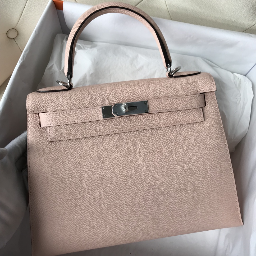 Stock Hermes Epsom Calf P1 Rose Elglantine Kelly28CM Bag Silver Hardware