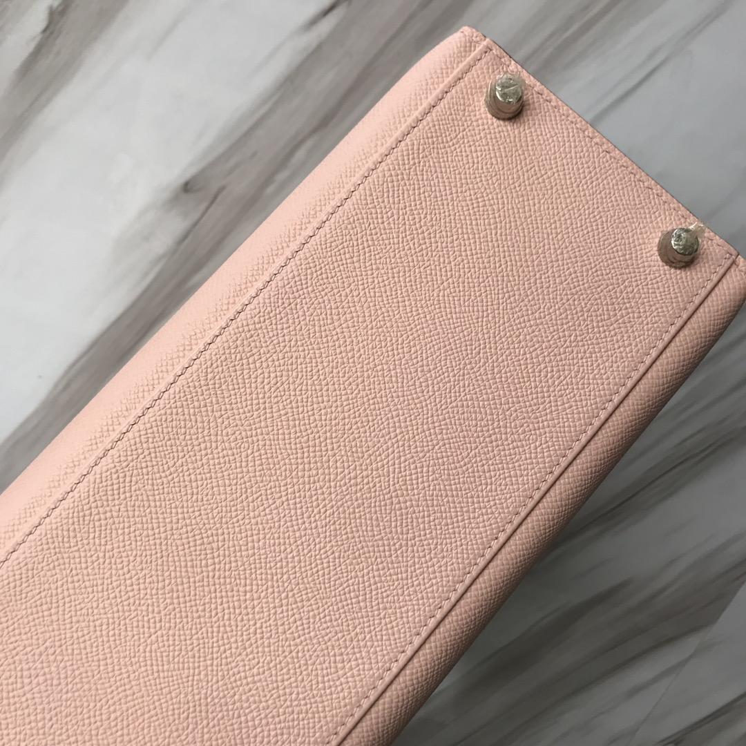 Stock Hermes Epsom Calf P1Rose Elglantine Kelly28CM Bag Silver Hardware