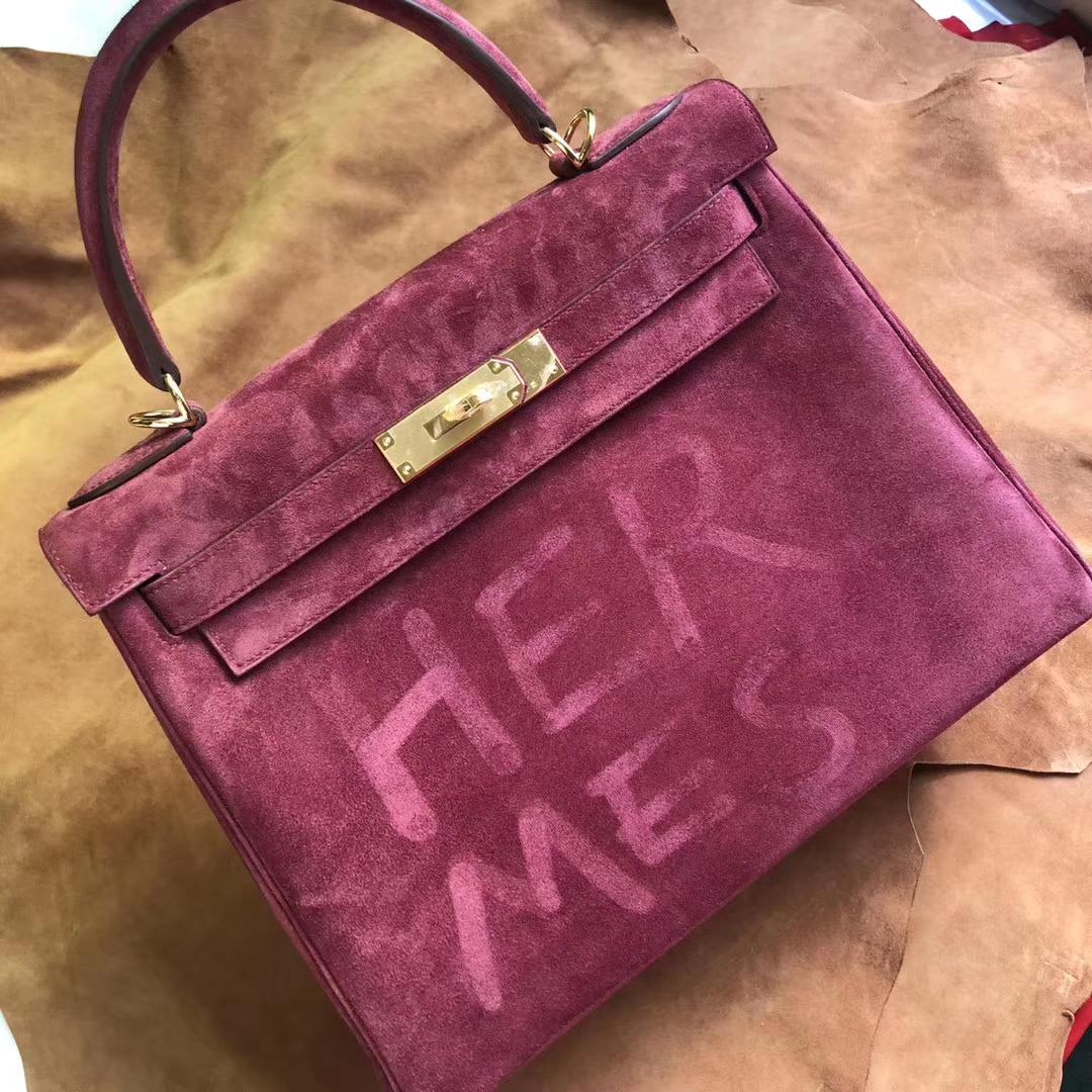 Fashion Hermes Suede Leather Kelly28CM Bag K1Rouge Grenade Gold Hardware
