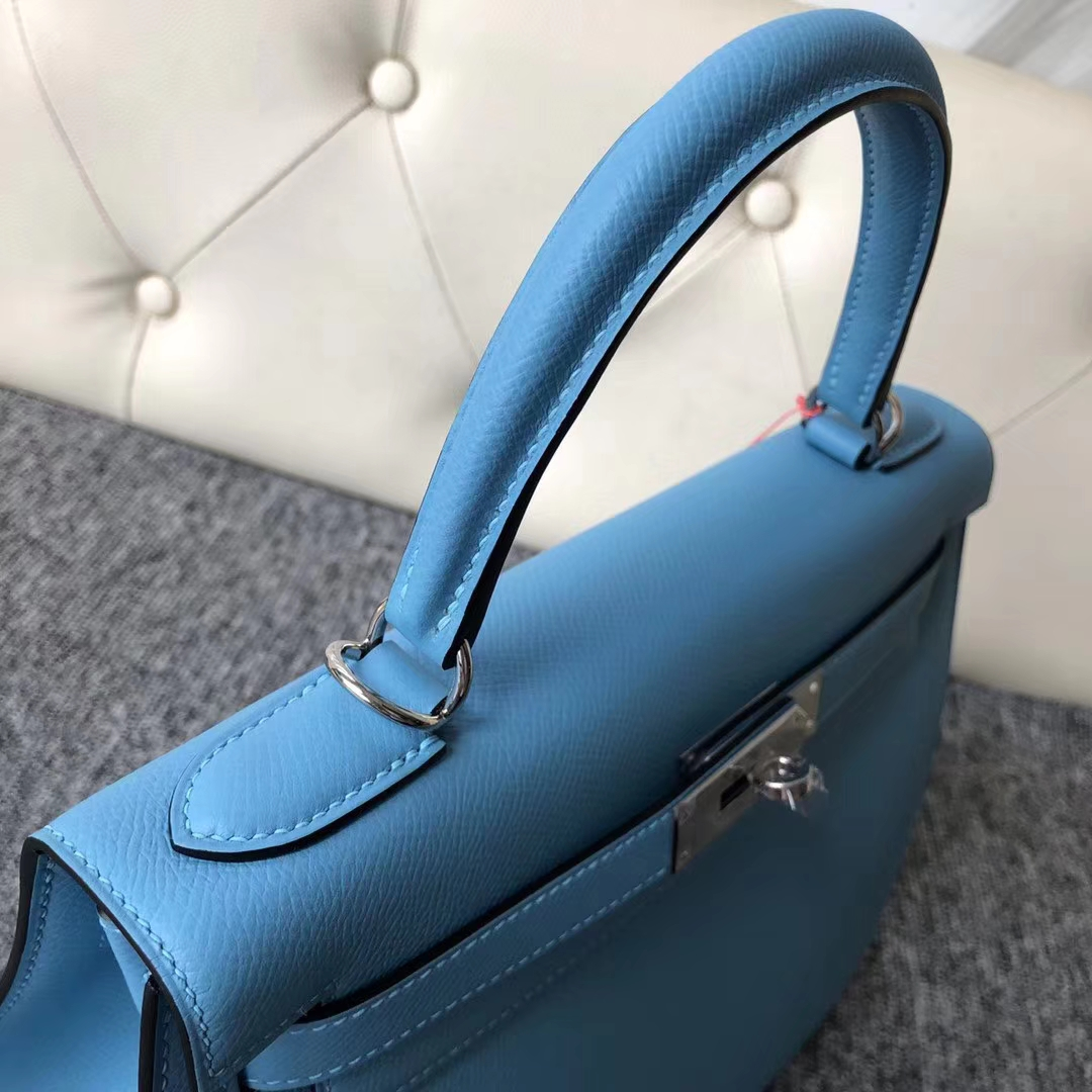 Stock Hermes P3 Blue de Nord Epsom Calf Kelly28CM Bag Gold/Silver Hardware
