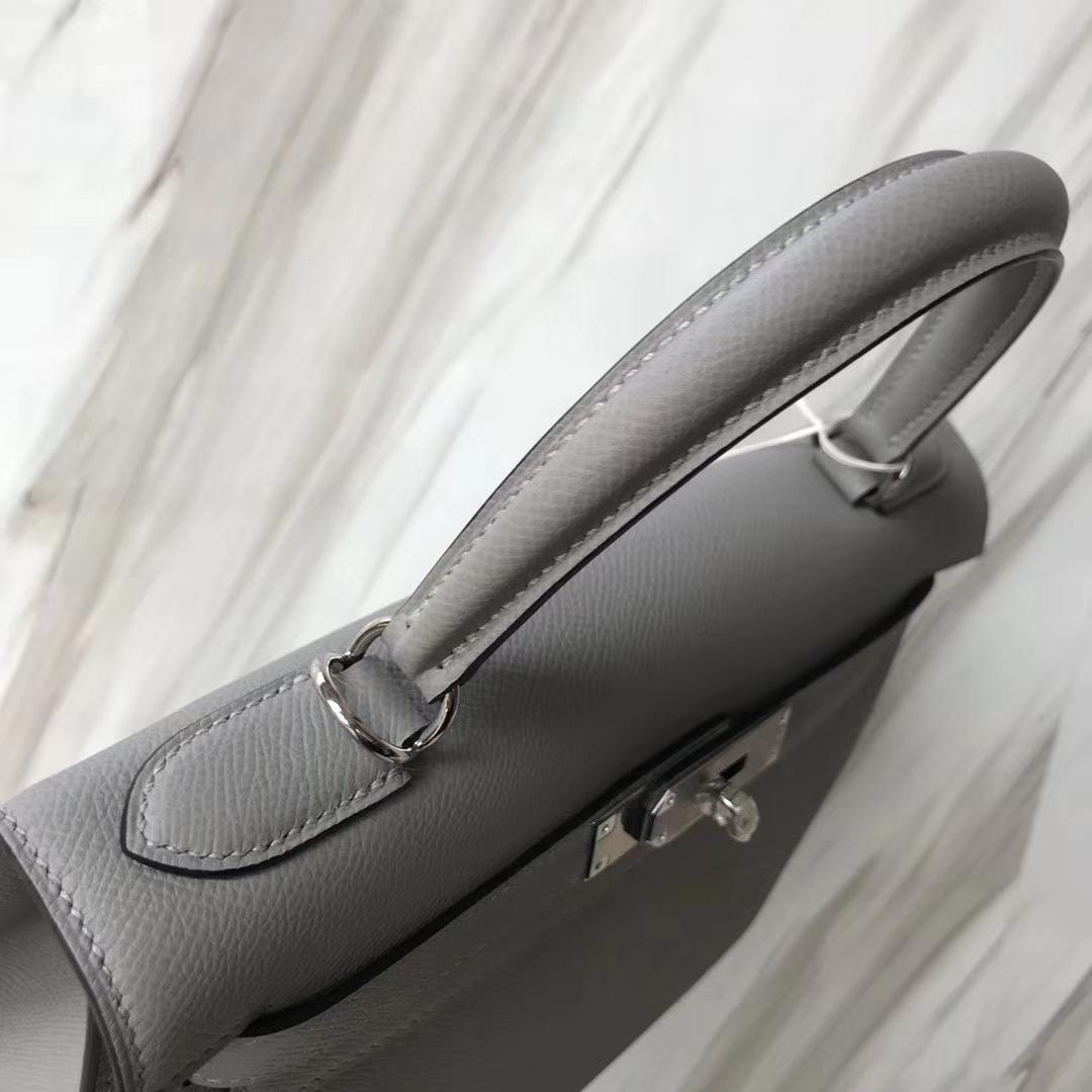 Stock Hermes Epsom Kelly Bag28CM in 8U Blue Glacier Gold/Silver Hardware