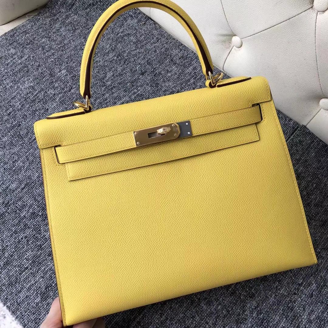 Stock Hermes 9OJaune De Naples Epsom Calf Kelly28CM Bag Gold/Silver Hardware