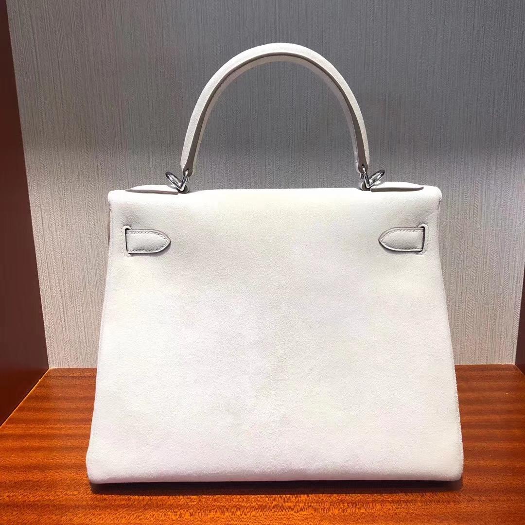 Stock Hermes CK10 Craie White Suede Kelly28CM Bag Silver Hardware