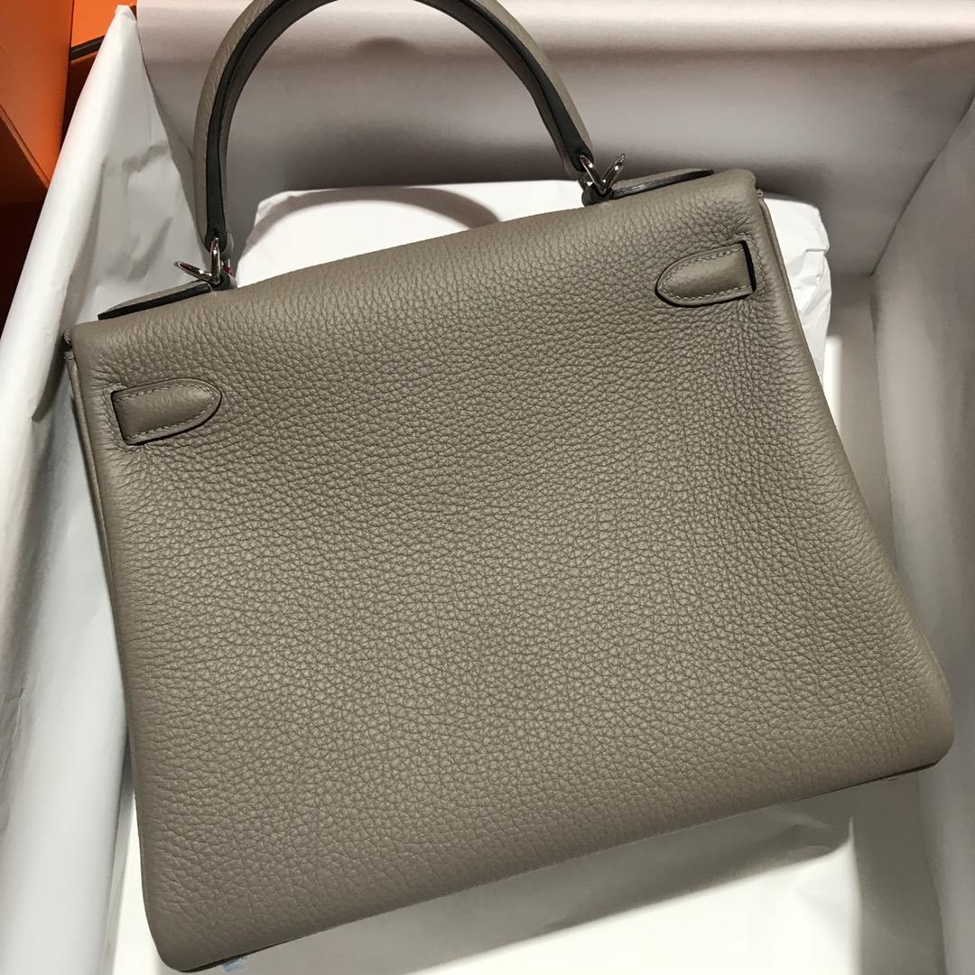 Stock Hermes Gris Ashpit Togo Calf Kelly28CM Bag Silver Hardware