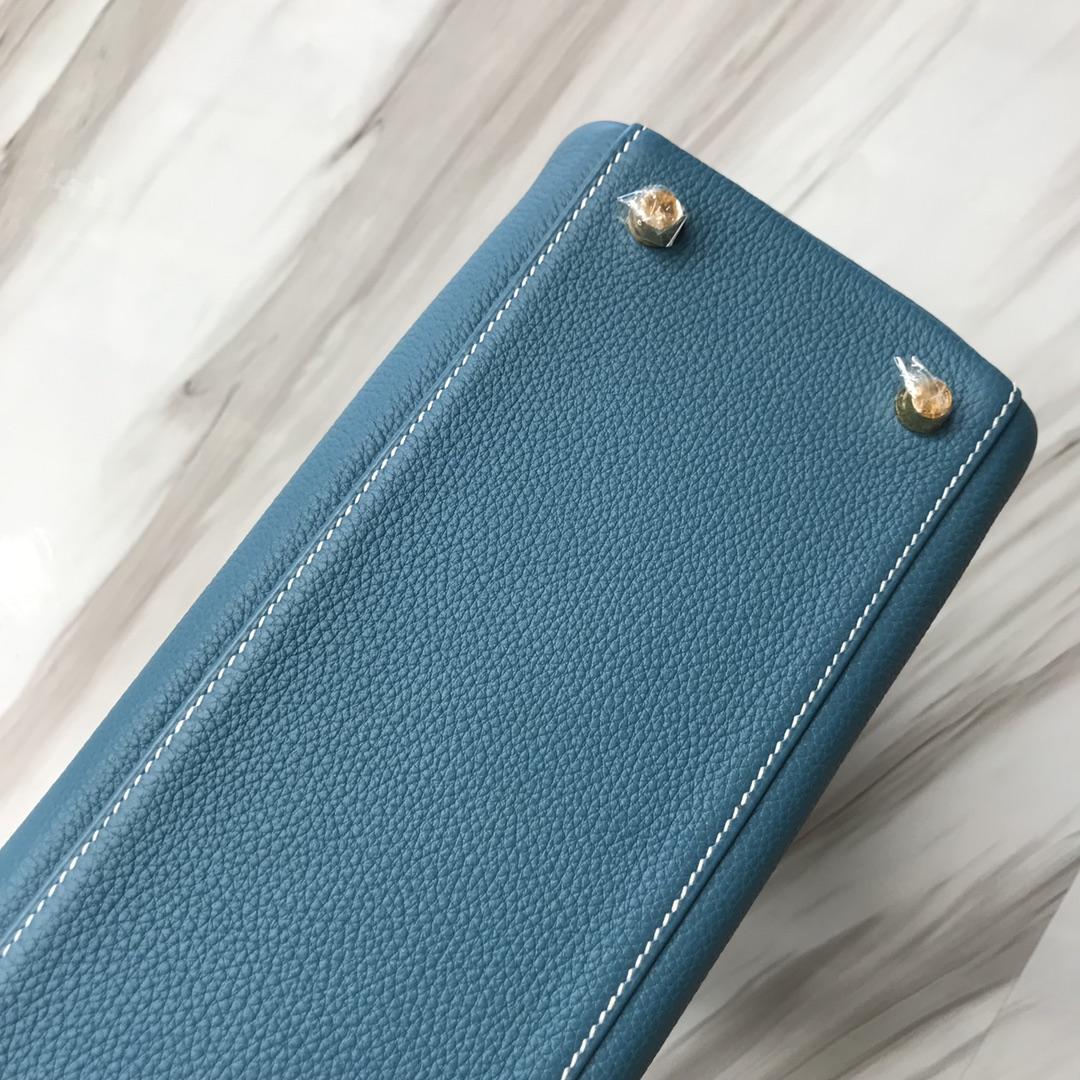 Stock Hermes Togo Kelly28CM Bag in CK75 Blue Jean Gold Hardware