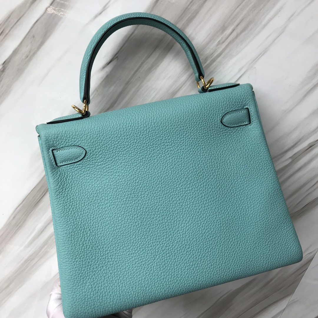 Stock Hermes Togo Calf Kelly Bag28CM in 3P Blue Attol Gold/Silver Hardware