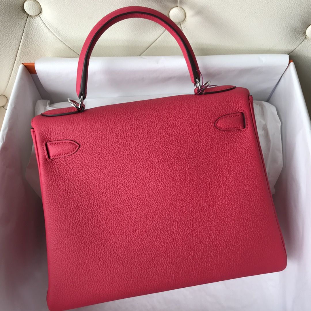 Stock Hermes Togo Kelly Bag28CM I6 Rose Extreme Silver Hardware