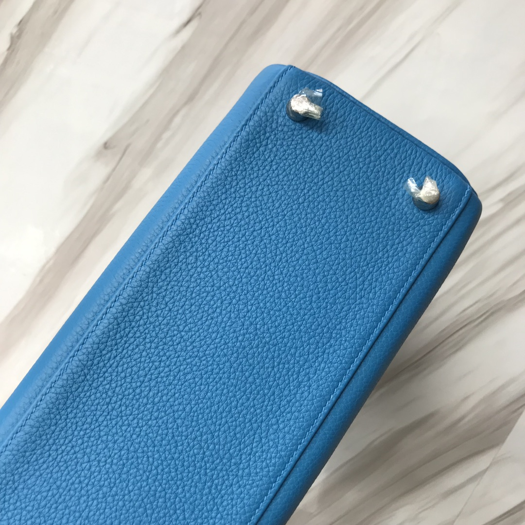 Stock Hermes B3 Blue Zanzibar Togo Calf Retourne Kelly28CM Silver Hardware